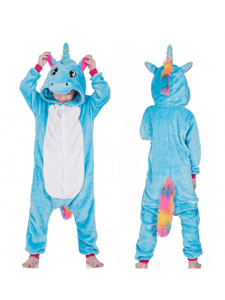 Детская пижама кигуруми бело-голубой Единорог