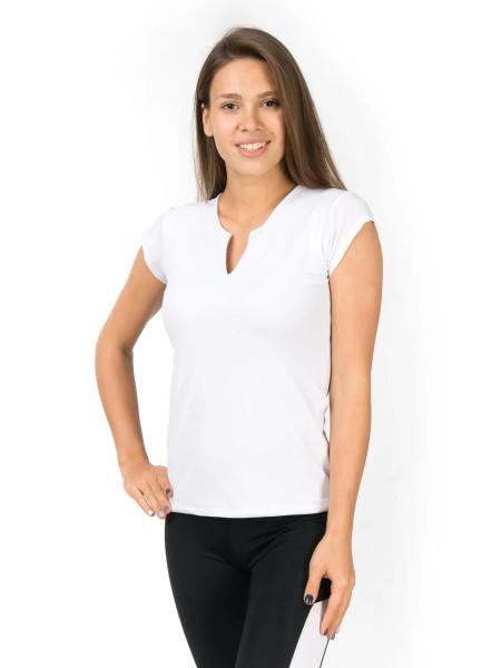 Белая футболка для занятий спортом с V-образным вырезом