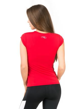 Красная футболка для фитнеса с V-образным вырезом