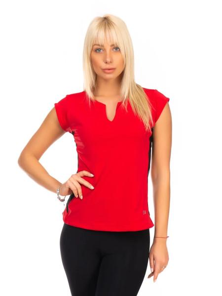 Красная спортивная футболка с черной сеткой