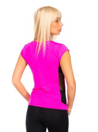 Малиновая футболка для фитнеса с V-образным вырезом