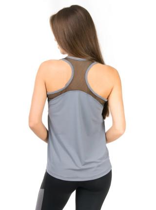 Майка спортивная женская с открытой спиной и сеткой
