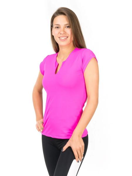 Розовая спортивная футболка с V-образным вырезом