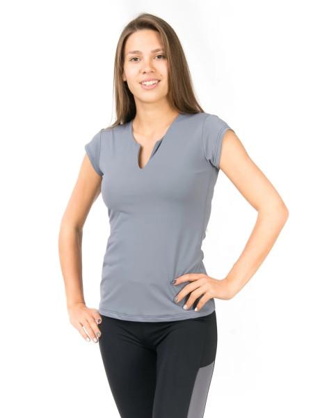 Серая спортивная футболка с V-образным вырезом
