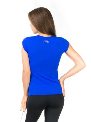 Спортивная футболка цвета электрик с V-образным вырезом