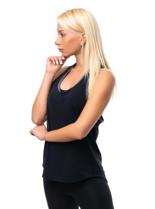 Женская беговая майка черного цвета с серой окантовкой