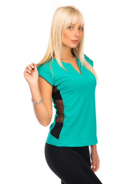 Женская футболка для фитнеса с сеткой темная мята