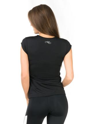Женская спортивная футболка с V-образным вырезом черного цвета