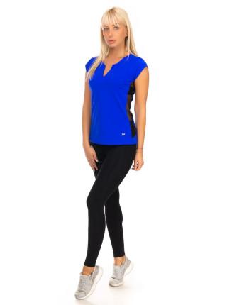 Женская спортивная футболка с сеткой цвета электрик