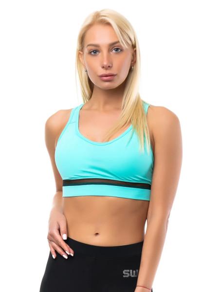 Женский спортивный топ с пуш-апом и сеткой цвет светлая мята