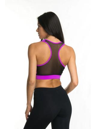 Женский топ для фитнеса с сеткой и пуш-апом цвет фуксия