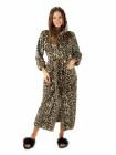 Женский махровый длинный халат леопардовый с капюшоном