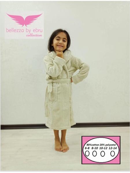 Банный махровый халат с капюшоном для девочки