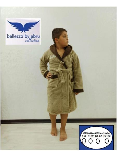 Детский махровый халат на запах для мальчика