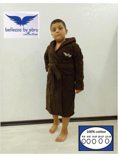 Детский однотонный халат с капюшоном для мальчика