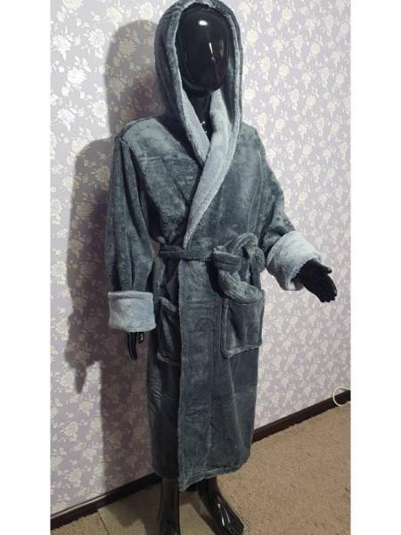Махровый халат на запах для мальчика серого цвета