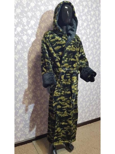 Махровый халат на запах для мальчика камуфляж