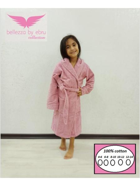 Халат детский махровый для девочки цвет розовый