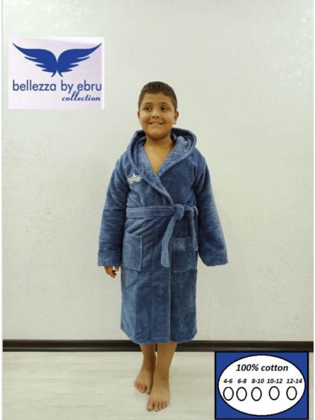 Халат махровый детский с капюшоном для мальчика цвет синий