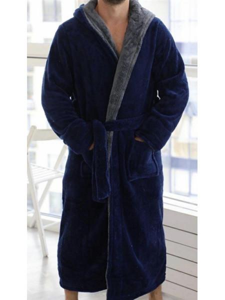 Мужской махровый халат на запах батал