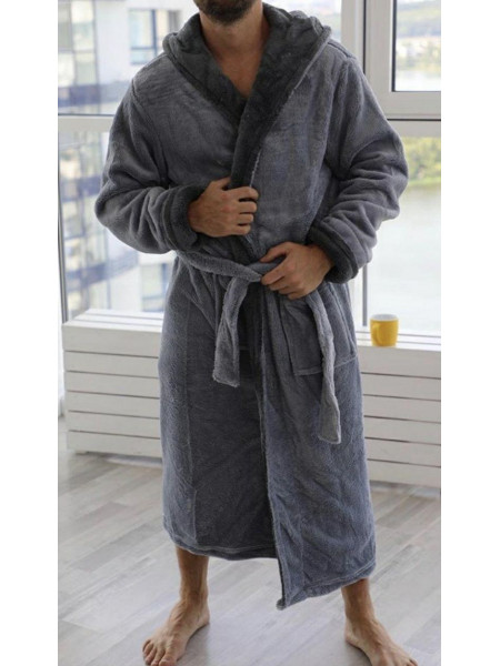 Однотонный махровый халат для мужчин батал