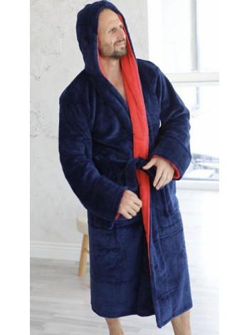 Темно-синий махровый халат на запах с капюшоном