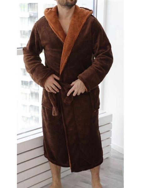 Коричневый махровый халат большого размера