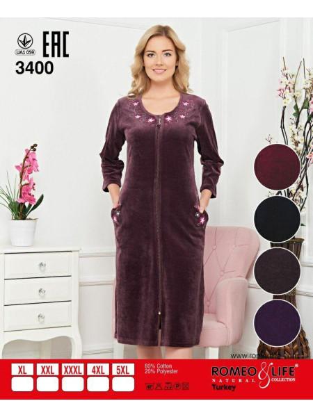 Стильный женский велюровый халат на молнии
