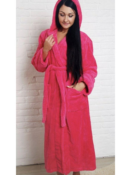 Малиновый халат для женщин батал