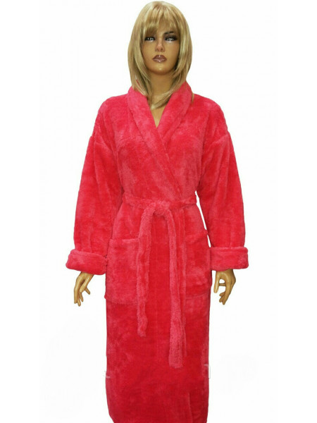 Женский махровый халат однотонный воротник шаль
