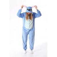 Махровая пижама-кигуруми Стич голубой