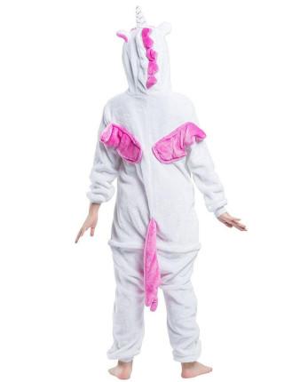 Махровая пижама-кигуруми Единорог бело-розовый