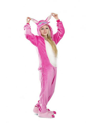 Махровая пижама-кигуруми розовый Стич