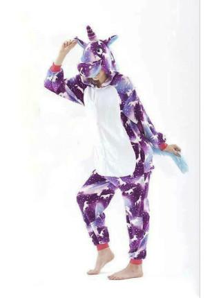 Женский цельный домашний костюм-пижамка кигуруми единорог