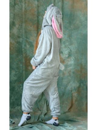 Кигуруми серый зайчик с длинными ушами