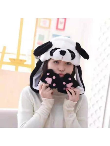 Детская шапка кигуруми панда светящаяся с двигающимися ушами