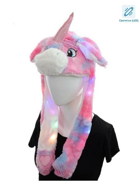 Детская светящаяся шапка кигуруми розовый единорог с ушками