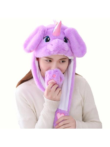 Шапка для кигуруми детская фиолетовый единорог с подсветкой