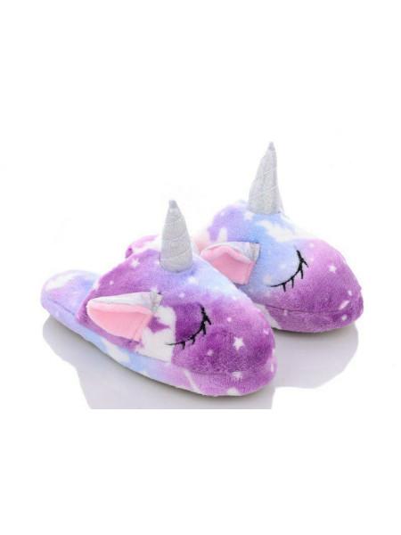 Детские открытые тапочки звездные спящие единороги