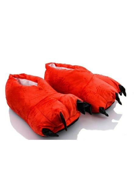 Закрытые тапочки кигуруми для детей красные когти