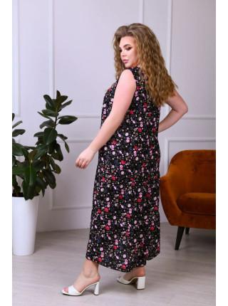 Длинное штапельное платье без рукавов