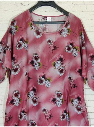 Штапельное платье с карманами и цветочным принтом