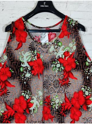 Женское прогулочное платье с красными цветами