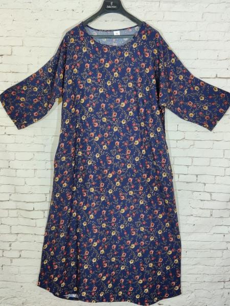 Женское штапельное платье с рукавами и карманами