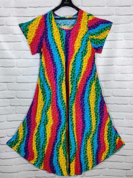 Длинное штапельное платье ламбада радуга