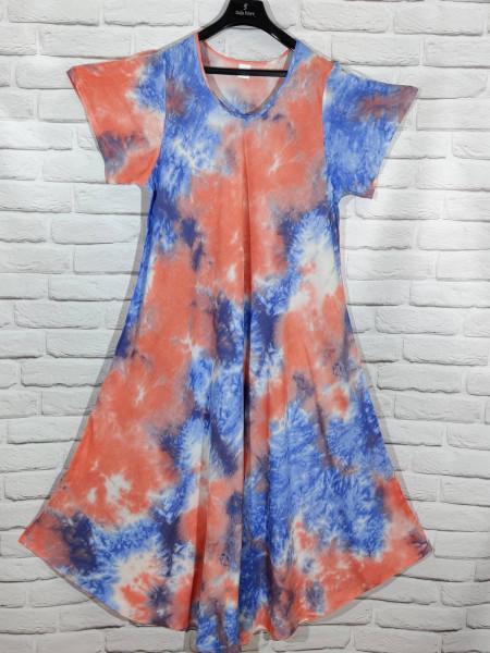 Длинное штапельное платье ламбада голубой цвет