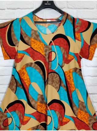 Длинное штапельное платье ламбада принт абстракция