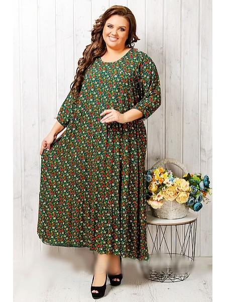 Женское летнее платье больших размеров зелёного цвета