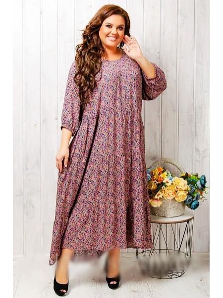 Женское длинное штапельное платье розового цвета