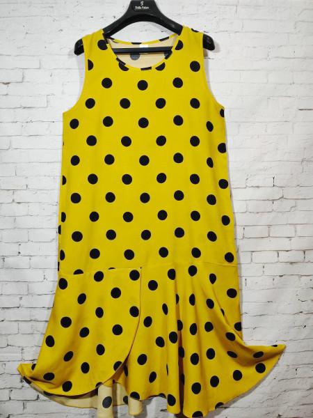 Женское штапельное платье в горох жёлтого цвета